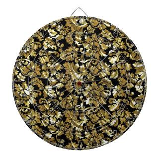 Svart och metalliska guld- vintagedamaster piltavla