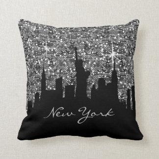 Svart och New York för silverkonfettiglitter Kudde