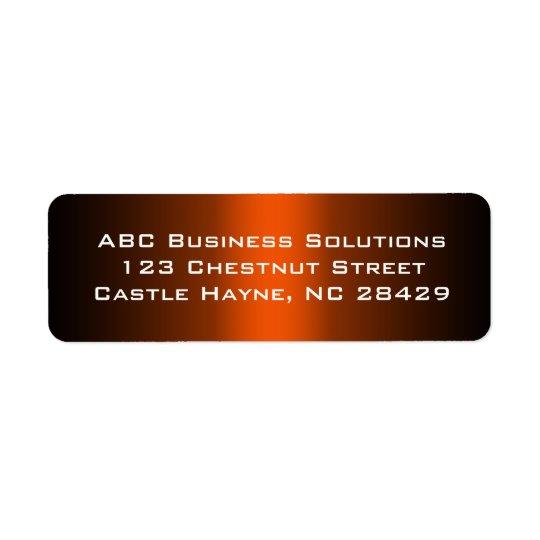 Svart och orange affärsreturadressklistermärke returadress etikett