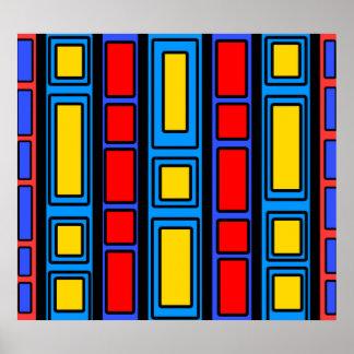Svart och röd rektangeldesign för blått poster