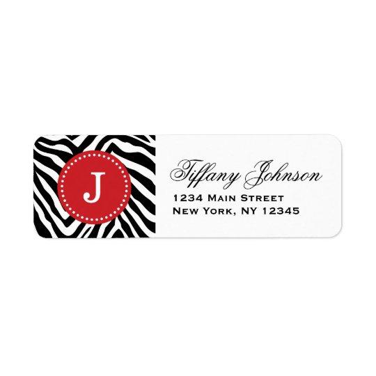 Svart och röd zebra tryckanpassningsbarMonogram Returadress Etikett