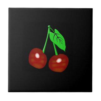 Svart och röda körsbär kakelplatta