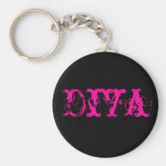 Svart och rosa Divakeychain Rund Nyckelring