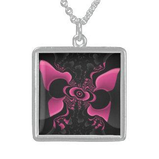Svart och rosa fjärilsFractalhalsband Sterling Silver Halsband