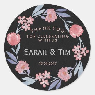 Svart och rosa guld- blom- bröllopklistermärke runt klistermärke