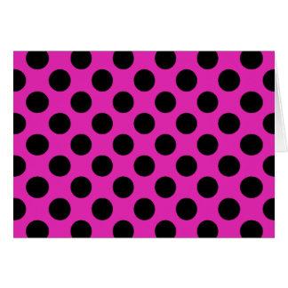 Svart och rosa polka dots hälsningskort
