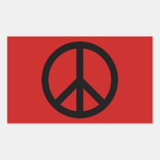 Svart och rött fredsymbol rektangulärt klistermärke