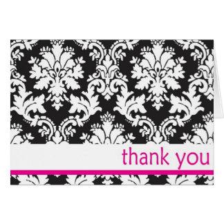 svart- och whtedamast med shock rosa tackar dig hälsningskort