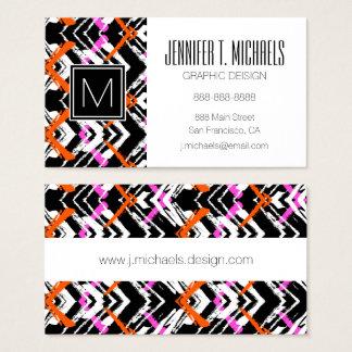 Svart, orange och rosa hand plockadepilmönster visitkort