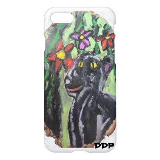 Svart panter och blommor och djungel iPhone 7 skal