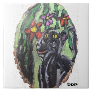 Svart panter och blommor och djungel kakelplatta