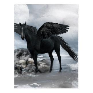 svart Pegasus häst Vykort