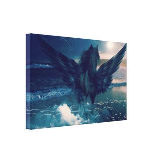 Svart Pegasus som dyker upp från havet Canvastryck