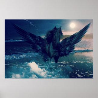 Svart Pegasus som dyker upp från havet Poster