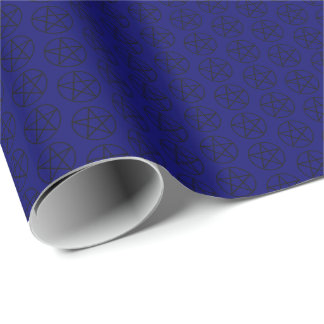 Svart Pentagram på mörk - blått Presentpapper