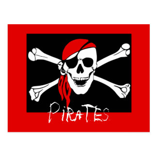 Svart pirater - och röd piratskalle vykort
