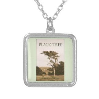 Svart pläterat halsband för träd silver