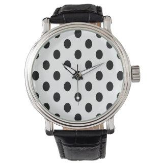 Svart polka dots för Oval Armbandsur