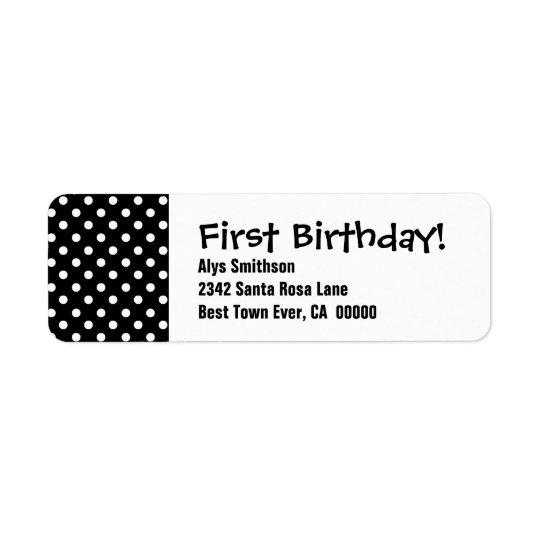 Svart polka dots LA18 för första födelsedag Returadress Etikett