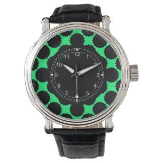 Svart polka dots på Kiwigrönt Armbandsur