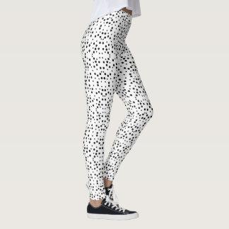 Svart polka dots på vitelasticitetsdamasker leggings