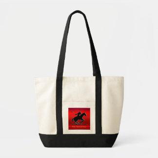 Svart Poloponny och ryttare på röd krom-look Tygkasse