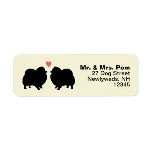 Svart Pomeranian hundSilhouettes med hjärta Returadress Etikett
