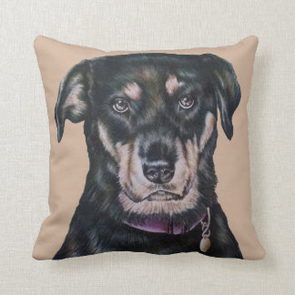 Svart porträtt för Rottweiler hundteckning Kudde