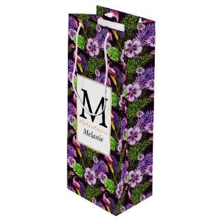 Svart purpurfärgat tropiskt floravattenfärgmönster