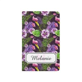 Svart purpurfärgat tropiskt floravattenfärgmönster anteckningsbok