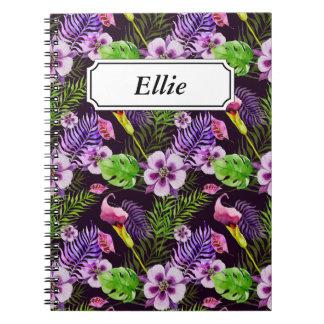 Svart purpurfärgat tropiskt floravattenfärgmönster anteckningsbok med spiral