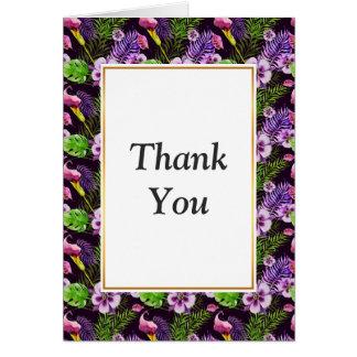 Svart purpurfärgat tropiskt floravattenfärgmönster OBS kort