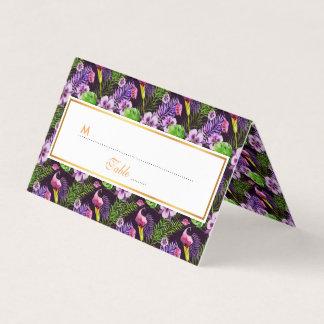 Svart purpurfärgat tropiskt floravattenfärgmönster placeringskort