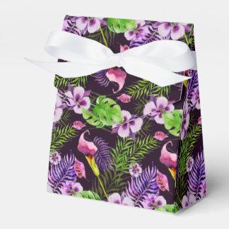 Svart purpurfärgat tropiskt floravattenfärgmönster presentaskar