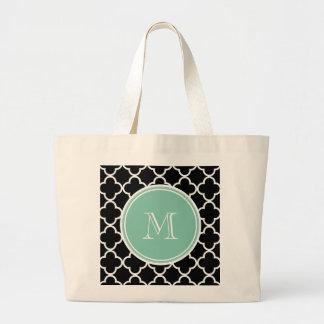 Svart Quatrefoil mönster, grön Monogram för Mint Kasse