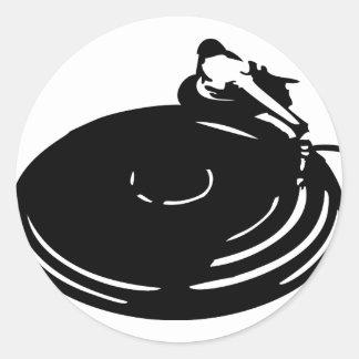 svart rekord- turntable runt klistermärke