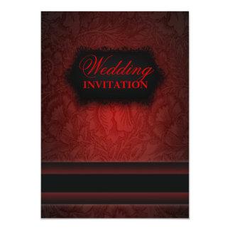 Svart röd damastast formell bröllopinbjudan för 12,7 x 17,8 cm inbjudningskort