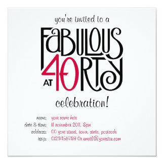 Svart röd inbjudan för födelsedag sagolika 40