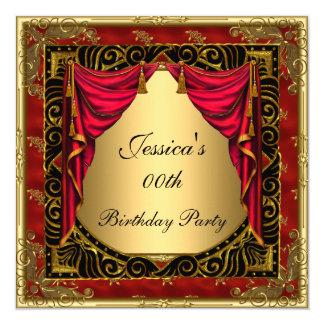 Svart röd retro födelsedagsfest för guld fyrkantigt 13,3 cm inbjudningskort