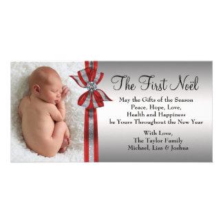 Svart röd silverbaby första kort för foto för jul foto kort