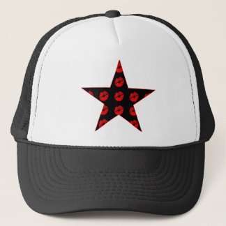 Svart & röd stjärna av kyssar truckerkeps