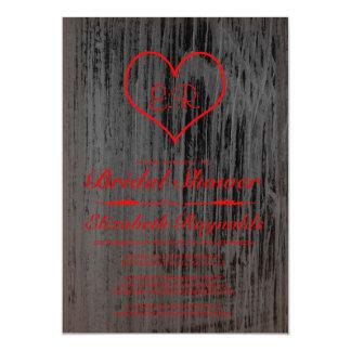 Svart & röda landinbjudningskort för möhippan 12,7 x 17,8 cm inbjudningskort