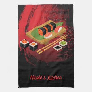 Svart & röda Sushi för chic modern elegant Kökshandduk