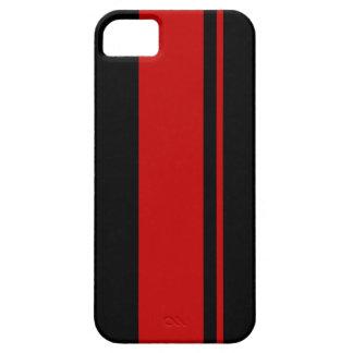 Svart & röda tävlings- randar - inspirerad iPhone 5 cover