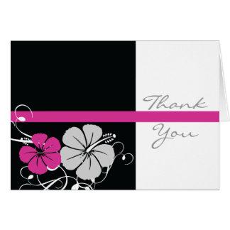 Svart & rosa hibiskustack hälsningskort