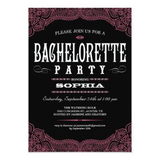 Svart & rosa Paisley Bachelorette partyinbjudan 12,7 X 17,8 Cm Inbjudningskort