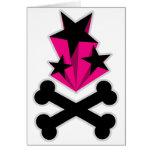 Svart rosa stjärnaCrossbones Hälsnings Kort