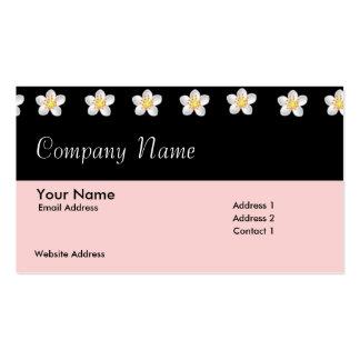 Svart & rosor med blommavisitkorten set av standard visitkort