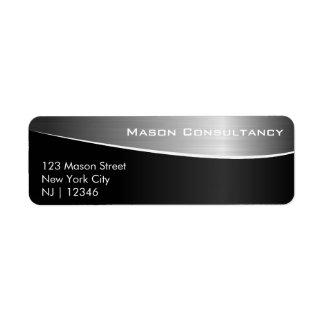 Svart rostfritt stål som matchar adressetiketten returadress etikett