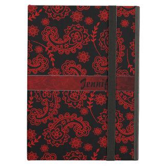 Svart & rött fodral för Paisley iPadluft med